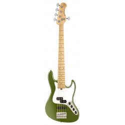 SADOWSKY MetroExpress 21-Fret Hybrid P/J Bass, Maple, 5-String (Solid Sage Green Metallic Satin)