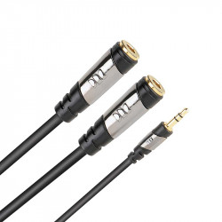Monster CableLinks Y-Adapters 1/8 St Male to (2) ¼ Mono Female
