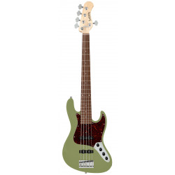 SADOWSKY MetroLine 21-Fret Vintage J/J Bass, Alder, 5-String (Solid Sage Green Metallic Satin)